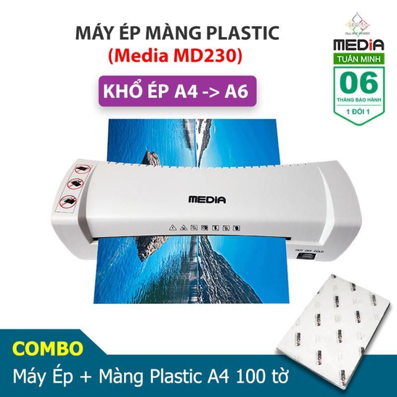 Máy Ép Màng Plastic Media MD230 Khổ Ép A4 + Màng Ép A4 100 Tờ