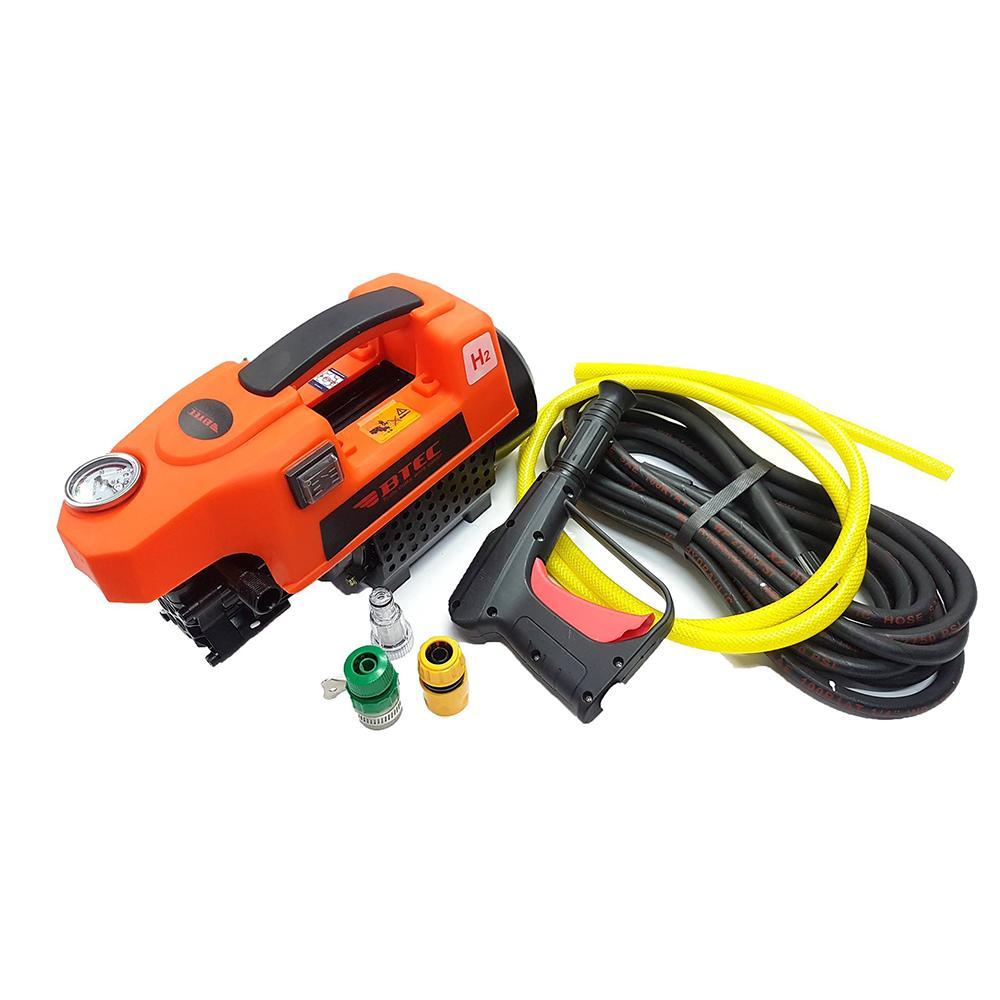 Máy rửa xe mini áp lực cao 1400W BTEC mã BT1400 : Tự hút nước, chạy êm, mô tơ từ, dây dài, bảo hành 12 tháng