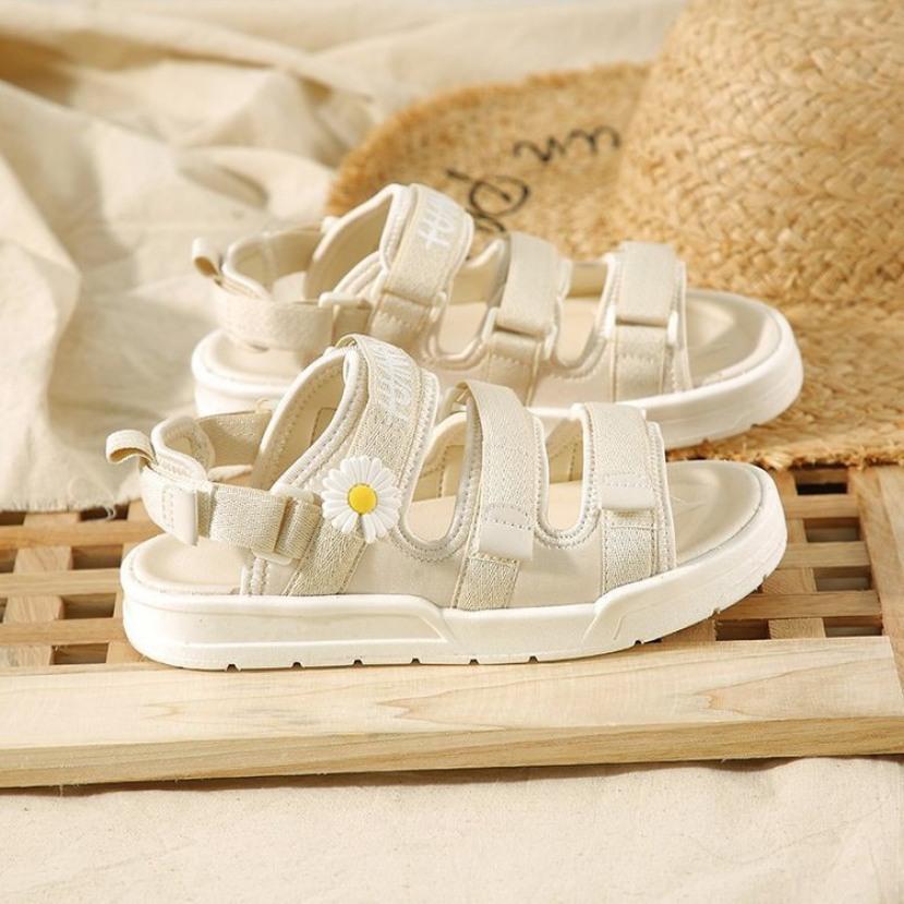 Sandal nữ,sandal học sinh,sandal Ulzang nữ tính hoa cúc 3 quai dán siêu đẹp giá rẻ