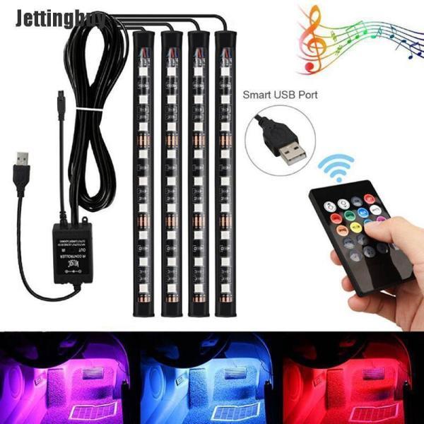 Jettingbuy 4x 9LED RGB Nội Thất Xe Hơi Bầu Không Khí Footwell Dải Ánh Sáng USB Sạc Trang Trí Đèn