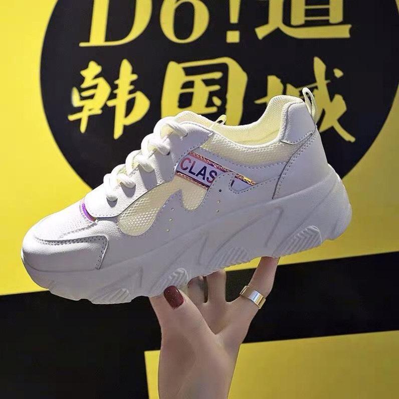 Giày thể thao sneaker nữ SSIL màu trắng màu kem màu hồng chất da siêu đẹp phong cách hàn quốc độn đế cao bts phối màu hot 2019 giá rẻ dưới 100k giá rẻ