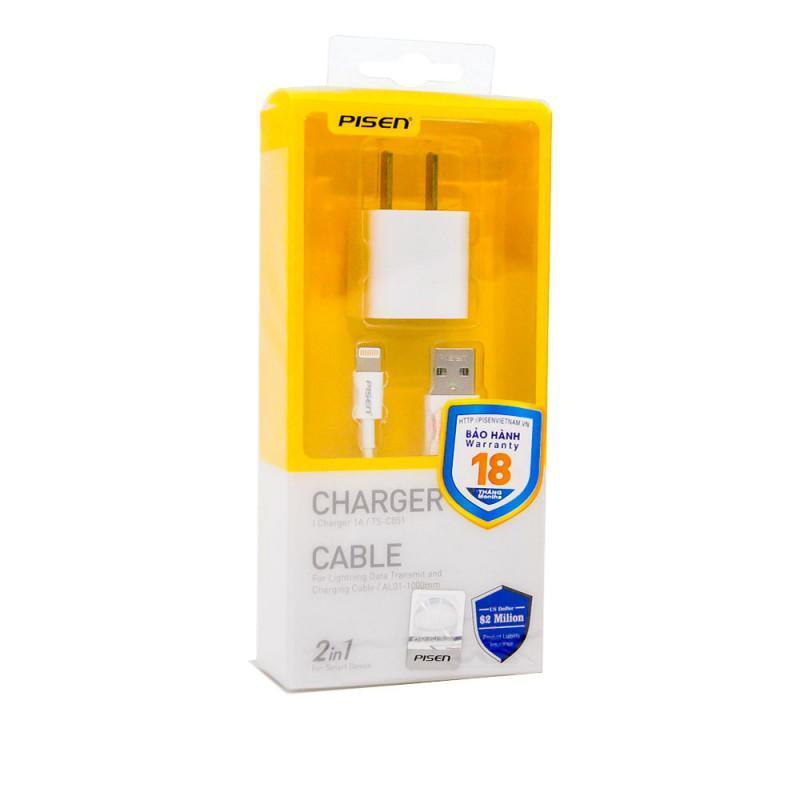 Combo Cáp và  Sạc điện thoại  Pisen I Charger 1A Lightning