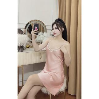 Váy Ngủ, Đầm Ngủ, Đồ Ngủ Mặc Nhà Nữ Hisexy Lụa Satin Trơn Dáng Xuông Liền Thân MD07 thumbnail