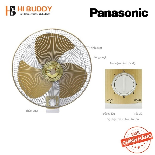 [SẢN PHẨM CHÍNH HÃNG] Quạt Đảo Trần Cycle Fan PANASONIC F-409QB - Màu Xanh/ F-409QGO - Màu Vàng Với Khả Năng Xoay 360 Độ Dễ Dàng - HIBUDDY