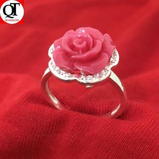 Nhẫn nữ Bạc Quang Thản, nhẫn nữ mặt đá hoa hồng có nhiều màu lựa chọn chất liệu bạc ta không xi mạ, không gỉ, không dị ứng da có thể chỉnh size tay theo yêu cầu QTNU2 thumbnail