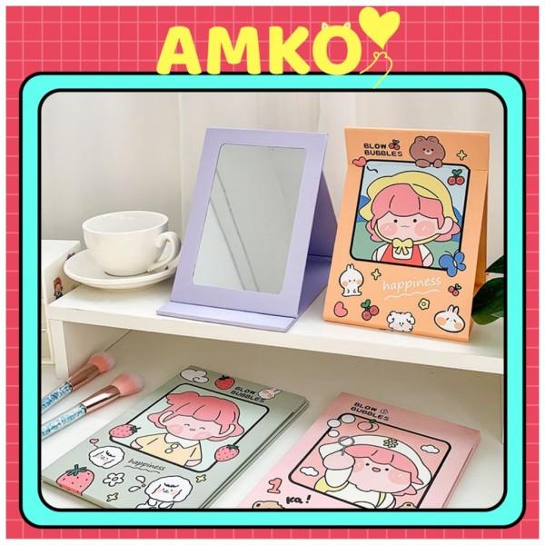 Gương Trang Điểm Gấp Giấy, Gương Để Bàn Cô Gái Nhật Bản Cỡ To Xinh Xắn AMKO G02 giá rẻ