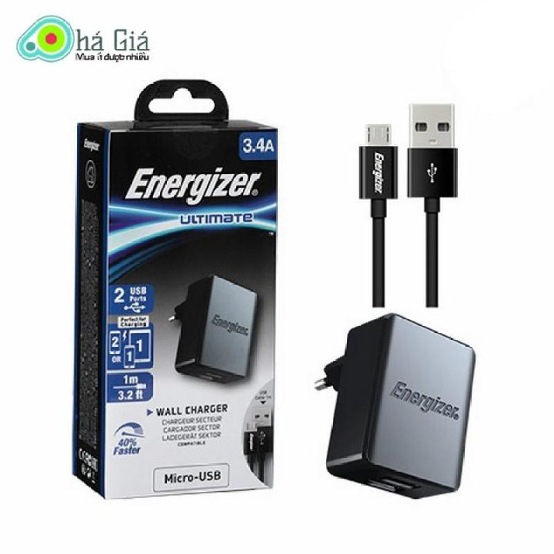 Bộ cốc cáp sạc Energizer 2 cổng USB 3.4A kèm cáp Type C - PKA177