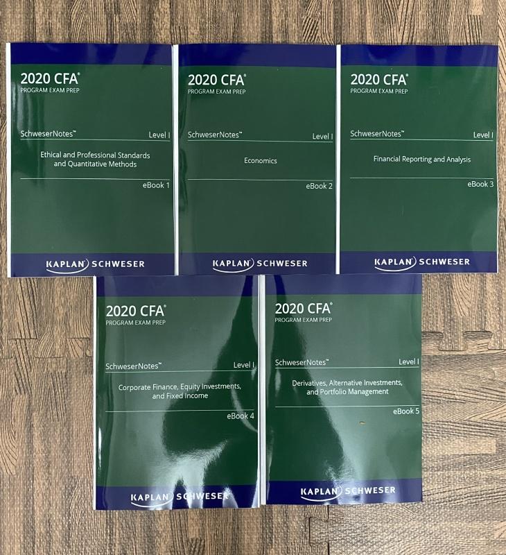 bộ sách 5 quyển CFA 2020 Level I - SchweserNotes Book ( sách gia công keo gáy như hình)