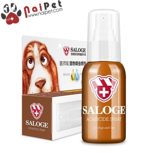 Dung Dịch Xịt Ghẻ Loại Bỏ Chất Nhờn Bệnh Ngoài Da Cho Chó Mèo Saloge Acaricide Spray 55ml