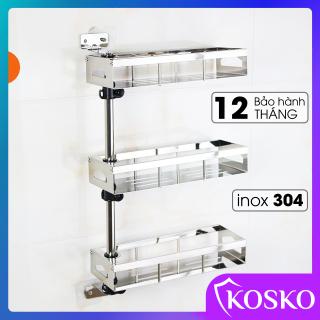 Kệ gia vị KOSKO inox 304 xoay 180 độ 3 tầng (Bảo hành 12 tháng - 1 đổi 1 trong 15 ngày) K-395GV-3T Kệ dựng gia vị, kệ nhà bếp đa năng thumbnail