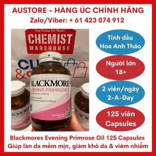 [Bill Úc, Date 01 2023] Blackmores Evening Primrose Oil 125 Capsules - Dầu Hoa Anh Thảo Blackmore giúp hỗ trợ cân bằng hormone nữ, giảm các triệu chứng tiền kinh nguyệt & viêm khớp nhẹ, duy trì làn da khỏe mạnh thumbnail