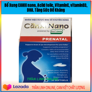 Canxi Nano Prenatar Nhãn hiệu Được Bác Sĩ Khuyên Dùng Bổ Xung Calci, VitaminC, Vitamin D3, DHA Rất cần thiết Cho phụ Nữ mang thai và Người Già, Người Thiếu Calxi (35NcTl X bầu) thumbnail