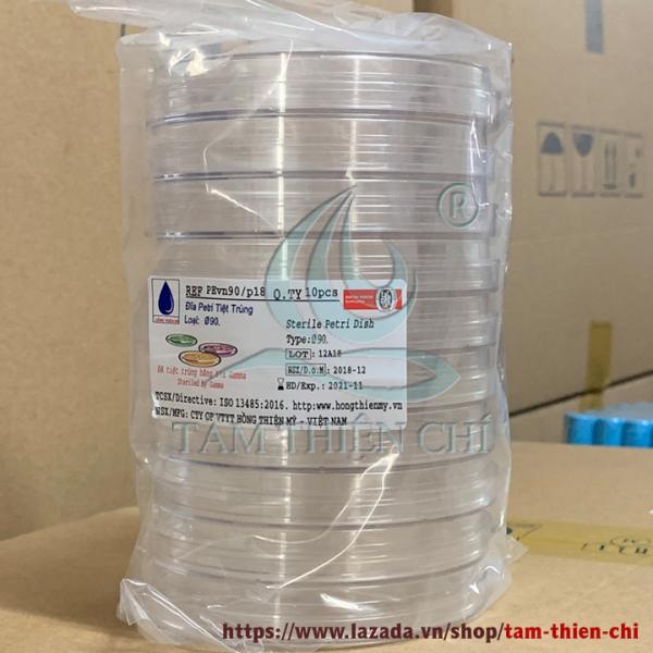 Đĩa Petri nhựa tiệt trùng 90mm túi 10 cái