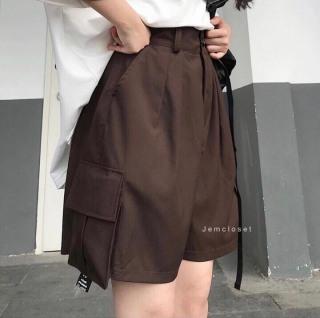 Quần sooc kaki nữ phối túi hộp lưng cao dáng suông ulzzang Quần lửng ống rộng unisex thời trang hàn quốc - kudoshop thumbnail