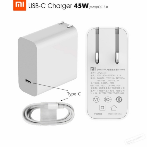 Củ sạc hỗ trợ sạc nhanh chuẩn PD USB-C Xiaomi 45W (hỗ trợ sạc laptop)