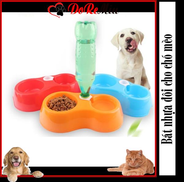Doremiu- Bát ăn đôi cho chó mèo bằng nhựa cao cấp (2 loại) chén ăn nhựa đôi thú cưng dưới 5kg