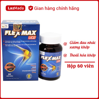 Viên uống FLEXMAX UC2 - Glucosamin 1500mg - Giảm đau khớp, viêm khớp, thoái hóa xương khớp, đau lưng, đau nhức khớp gối - Hộp 60 viên Chuẩn GMP thumbnail