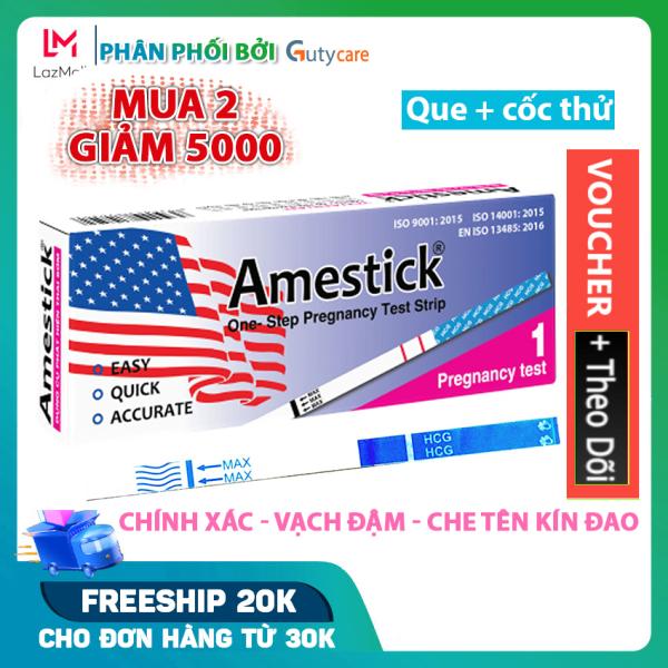 Que thử thai Amestick cho kết quả nhanh và cực chính xác, đạt tiêu chuẩn xuất khẩu - Hộp 1 que và cốc thử - Guty Care cao cấp