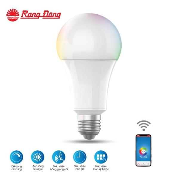 Bóng đèn LED Bulb RGB kết nối wifi Chính hãng Rạng Đông Siêu tiết kiệm điện Dễ dàng lắp đặt Cho ánh sáng đẹp Giải pháp cho smart house LED A60 RGBW/9W.WF