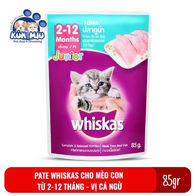 1 gói Thức ăn Pate Whiskas Junior cho mèo con 2-12 tháng  85gr Vị Cá ngừ