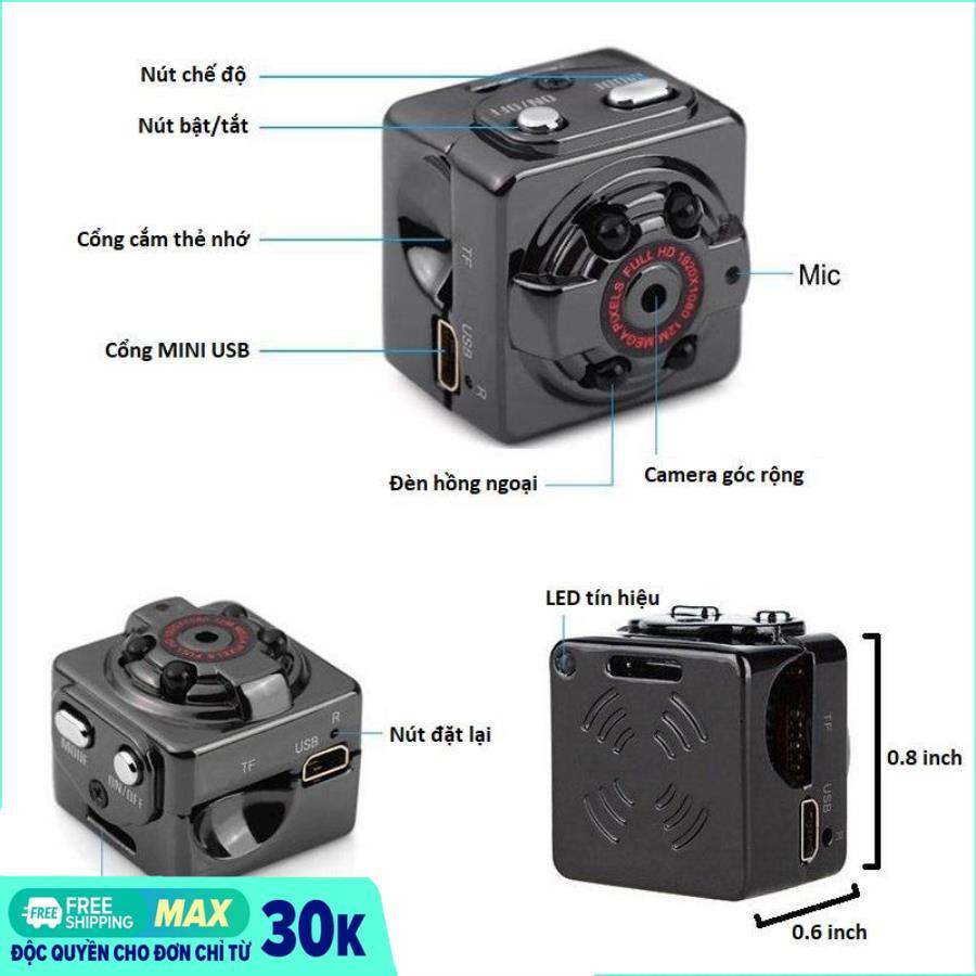 [HÀNG TỐT] Camera mini siêu nhỏ SQ8 HD1080P hình ảnh rõ nét Quay cả ban ngày và ban đêm (camera Hành trình và kiêm camera an ninh)