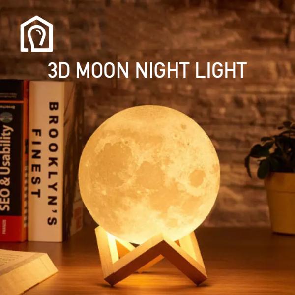 IHB025 Ánh sáng đêm trăng sáng tạo 3D Phòng ngủ cho trẻ em Bảo vệ mắt Ánh sáng cao su hoạt hình trang trí Đèn ngủ
