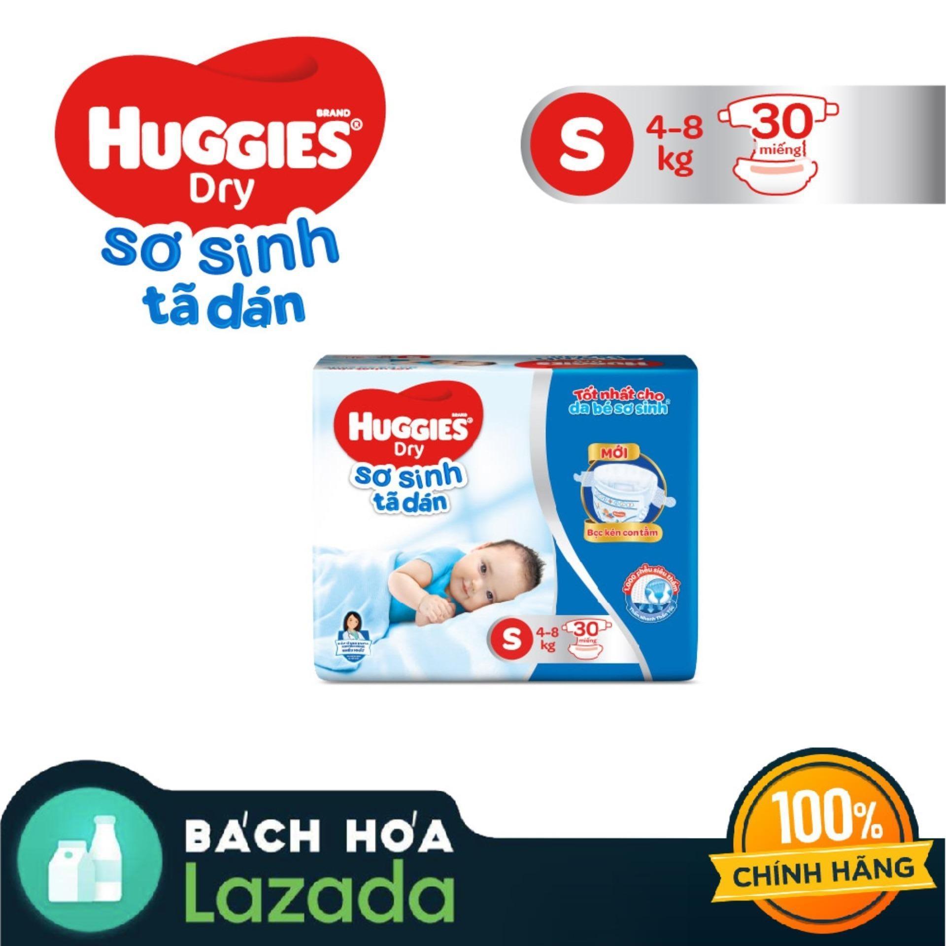 Tã/bỉm dán sơ sinh Huggies Dry S30 (Đệm mây co giãn) - Gói 30 miếng (Cho bé 4kg-8kg) bonus