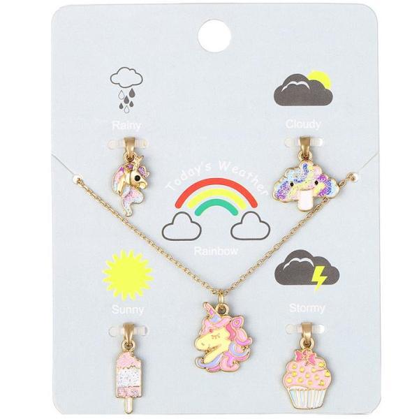 Giá bán Set dây chuyền cho bé gái kèm 5 mặt dây chuyền lung linh bằng hợp kim cao cấp phong cách Hàn Quốc đáng yêu BBShine – J058
