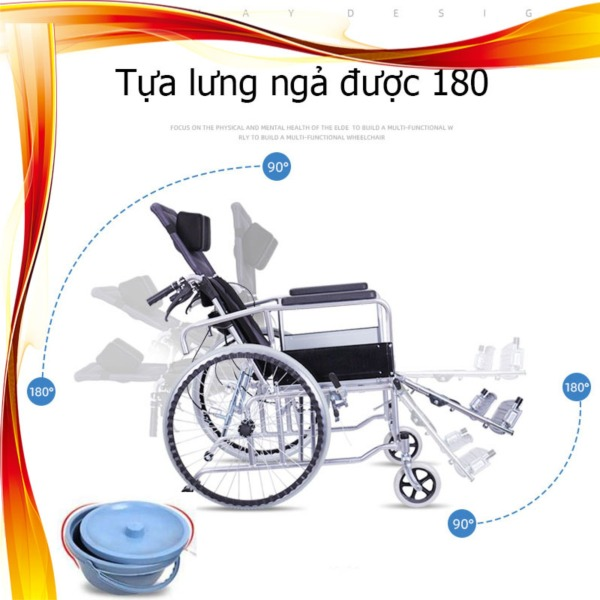 Xe lăn nằm 180 độ phiên bản mới với bô xanh, gá chân kèm gối đầu