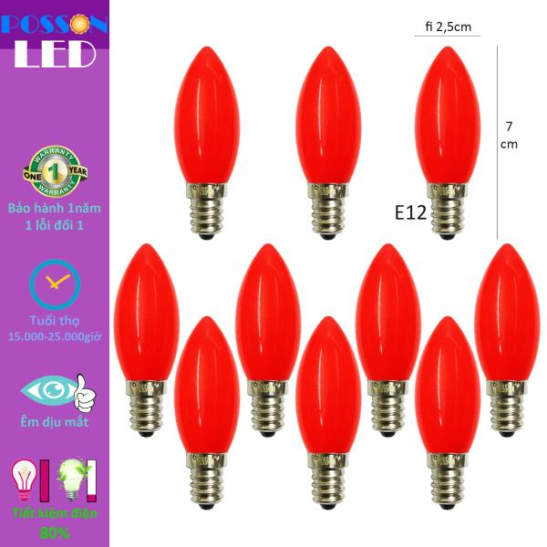 Bảng giá 10 Bóng đèn Led trái ớt quả nhót cà na 1w nến trang trí bàn thờ thần tài màu đỏ đuôi E12 LCh-E12R