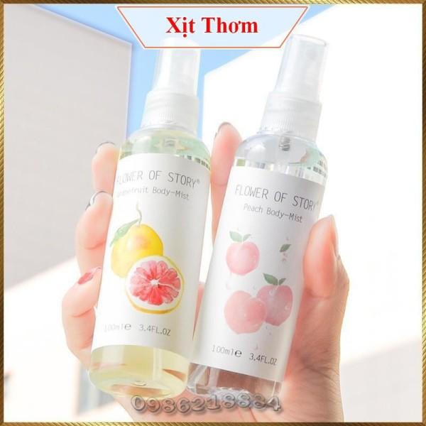 Xịt thơm 2in1 body và xịt thơm phòng Flower Of Story 100ml hương hoa quả FOS9 nhập khẩu