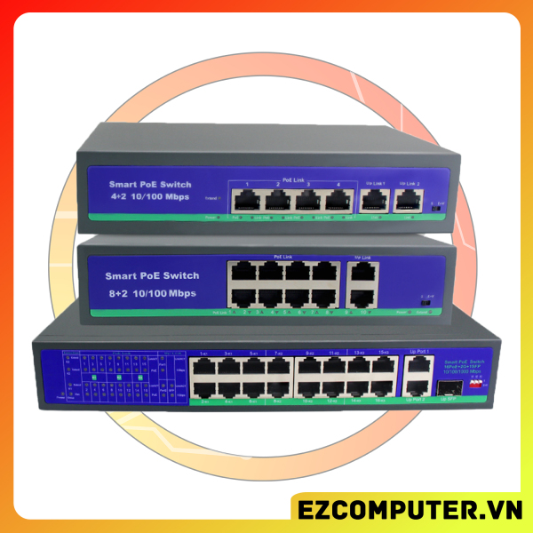 Bảng giá [Nhập ELJAN11 giảm 10%, tối đa 200k, đơn từ 99k]Switch POE Cho Hệ Thống Camera POE 48V 6 port (4+2) 10 port (8+2) 10/100Mbps Phong Vũ