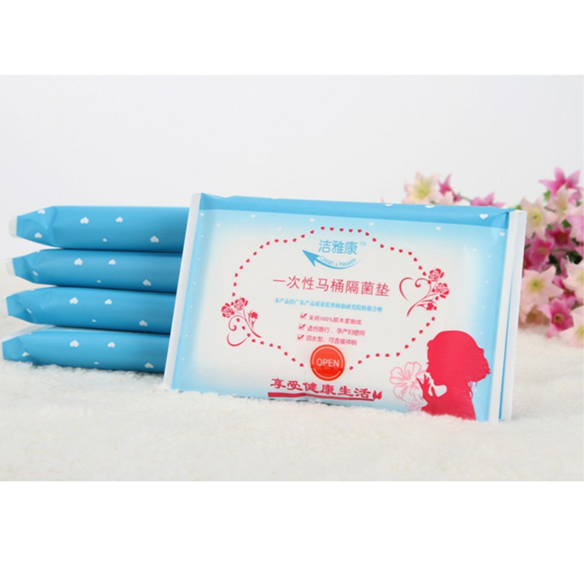 Bộ 10 miếng giấy lót bồn cầu vệ sinh dùng 1 lần (nhiều màu)