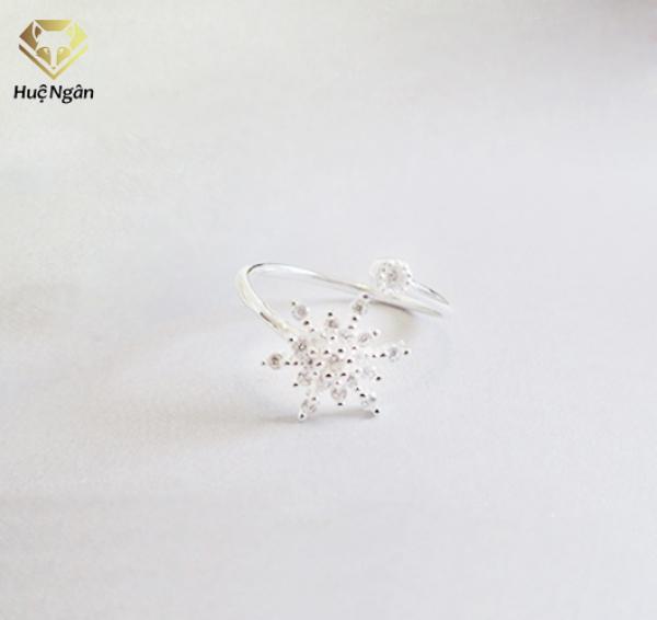 Nhẫn nữ trang sức bạc Ý 925 Huệ Ngân - Hoa tuyết đẹp RR1228