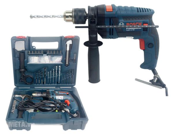 Máy khoan động lực Bosch GSB 13 RE (bộ set có valy 100 món phụ kiện)