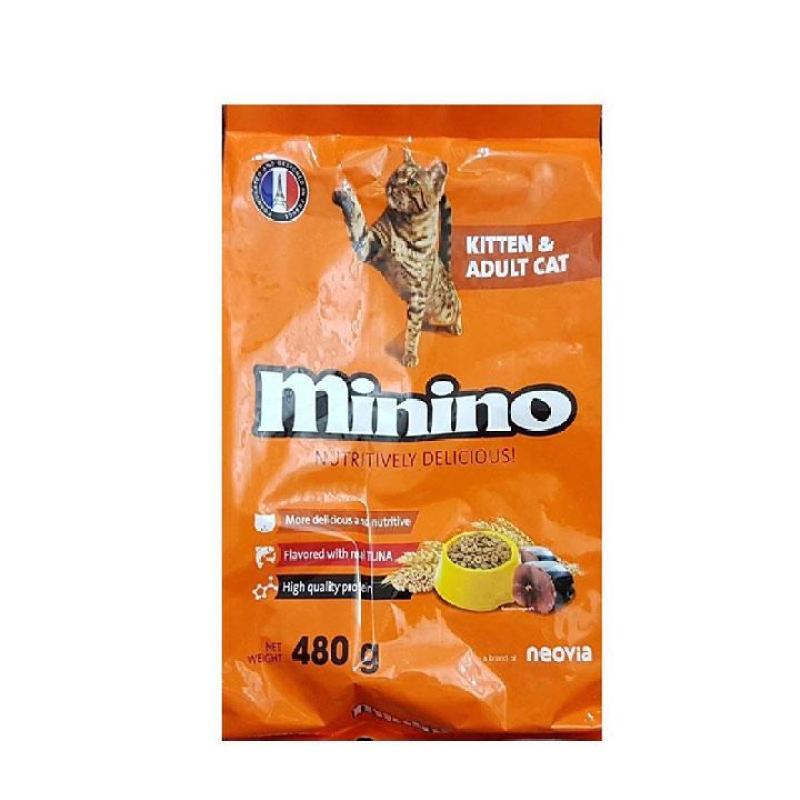 Thức ăn cho mèo MININO 480g Vị cá Ngừ Dành cho mèo mọi lứa tuổi - CutePets