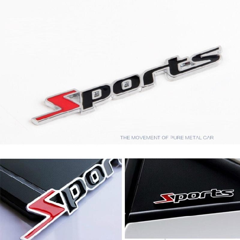 Logo SPORTS nổi kim loại 3D trang trí ô tô xe máy phong cách