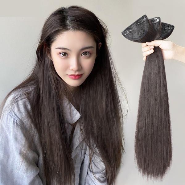 Tóc giả nữ Kẹp phím phồng thẳng Set 3 cái, kẹp phím phồng tóc giả giá rẻ