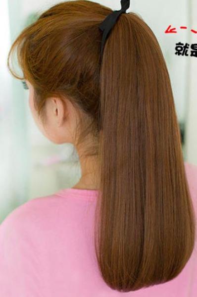 4 màu- Tóc giả nữ cột đuôi thẳng cụp - đen-hạt dẻ-nâu đen- nâu vàng cao cấp