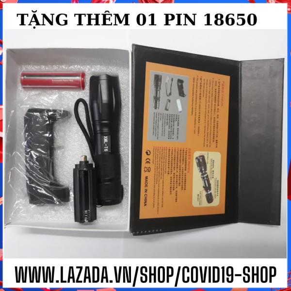 ( Cam kết sản phẩm y hình,  uy tín, chất lượng )  Trọn bộ đèn pin siêu sáng XML-T6 ( Tặng kèm thêm 01 pin sạc 18650 loại tốt )