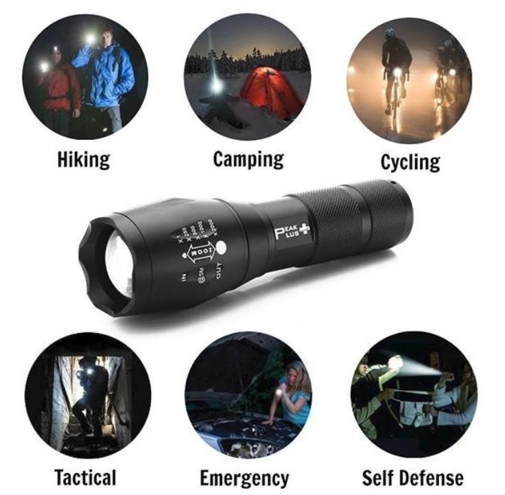 Combo đèn pin siêu sáng T6 và đèn pin soi tiền giả