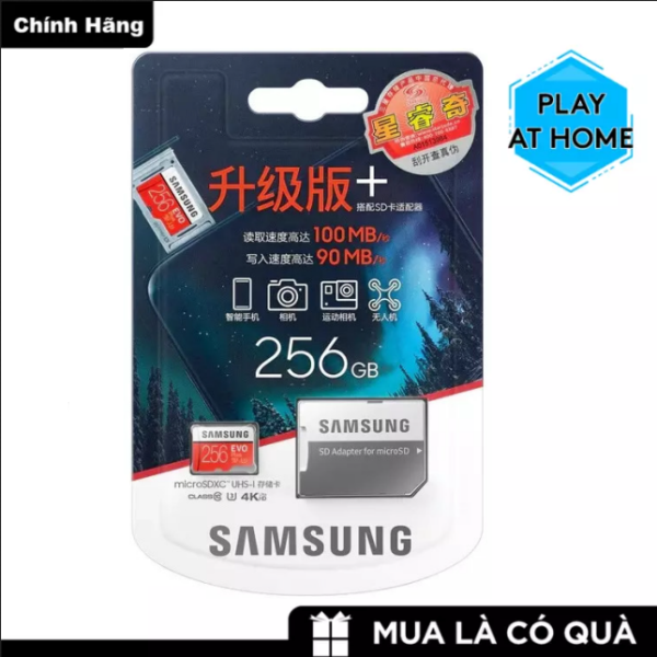 [ Giá Rẻ Bất Ngờ ] Thẻ nhớ MicroSDXC Samsung Plus 256GB U3 4K - Box Hoa - Tốc độ đọc 100Mb/s - Tốc độ ghi 90Mb/s - Hàng Chính Hãng