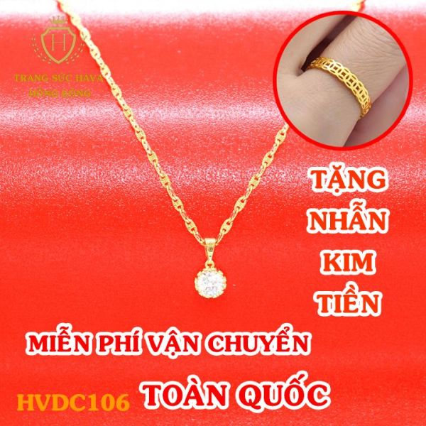 Dây Chuyền Nữ, Vòng Cổ Nữ Mặt Đính Đá Phong Cách, Titan Xi Mạ Vàng Non 10k, 18k, 24k Thật Cao Cấp (Không Bị Đen) - Trang Sức Hava Hong Kong