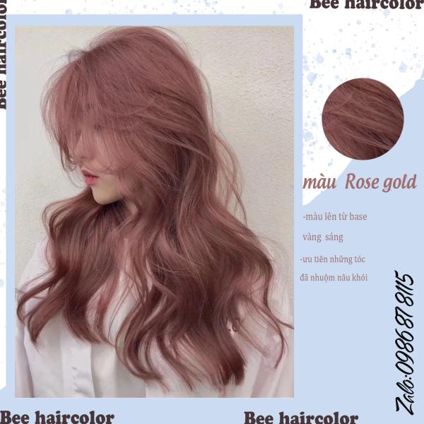 Kem Nhuộm tóc màu Rose Gold [ tặng kèm bao tay + oxy trợ nhuộm ]