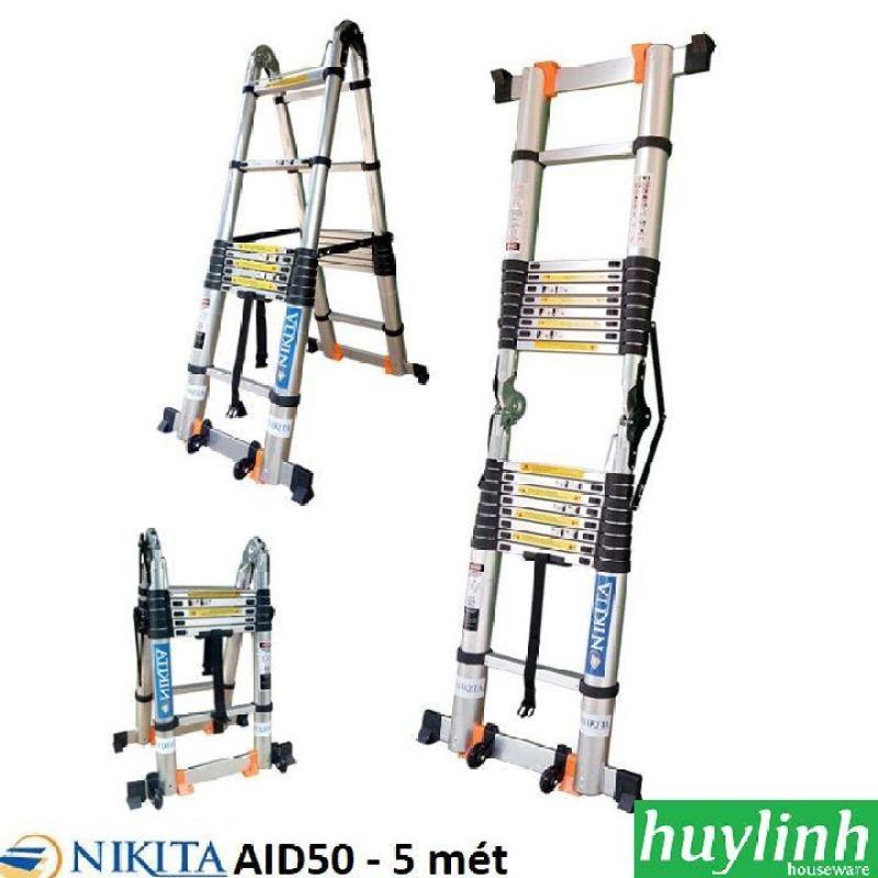 Thang nhôm rút đôi chữ A Nikita AID50 - 5 mét - có bánh xe