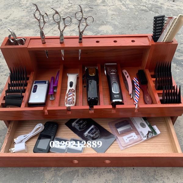 khay gỗ đựng tông đơ và đồ nghề làm tóc-2 tầng- tông đơ cắt tóc- dụng cụ làm tóc ptc