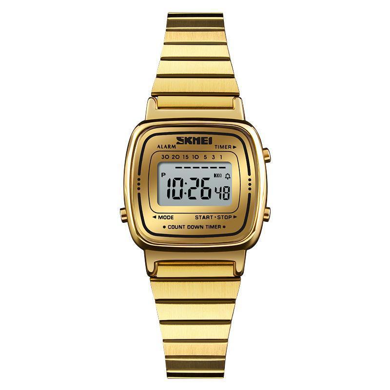 Đồng hồ điện tử nữ hot Skmei Sk670 Dual time dây thép không gỉ chống nước 30M (Có bảo hành) bán chạy
