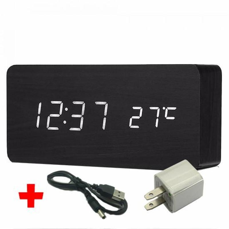 [Tặng SẠC ] Đồng Hồ Để bàn đèn led bằng gỗ siêu hot đa năng - Đồng hồ trang trí, đồng hồ báo thức - DH003 bán chạy