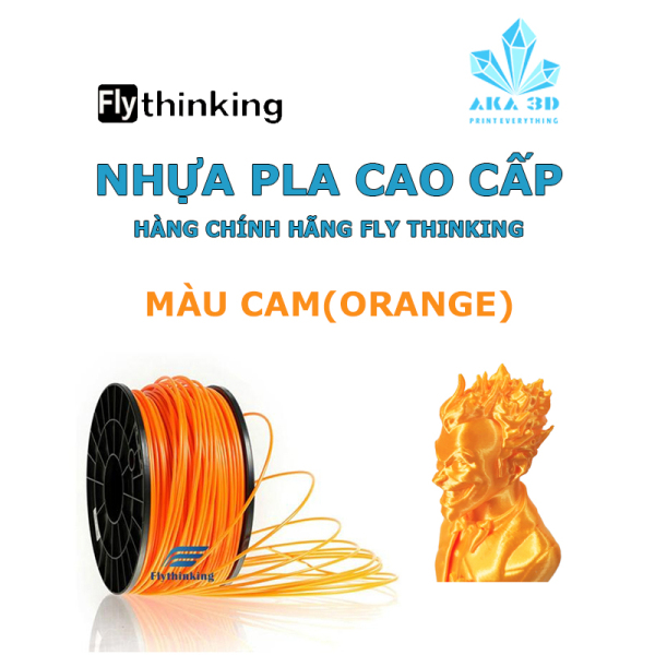 Giá Nhựa PLA in 3D flythinking màu cam trong suốt, mực in 3d orange