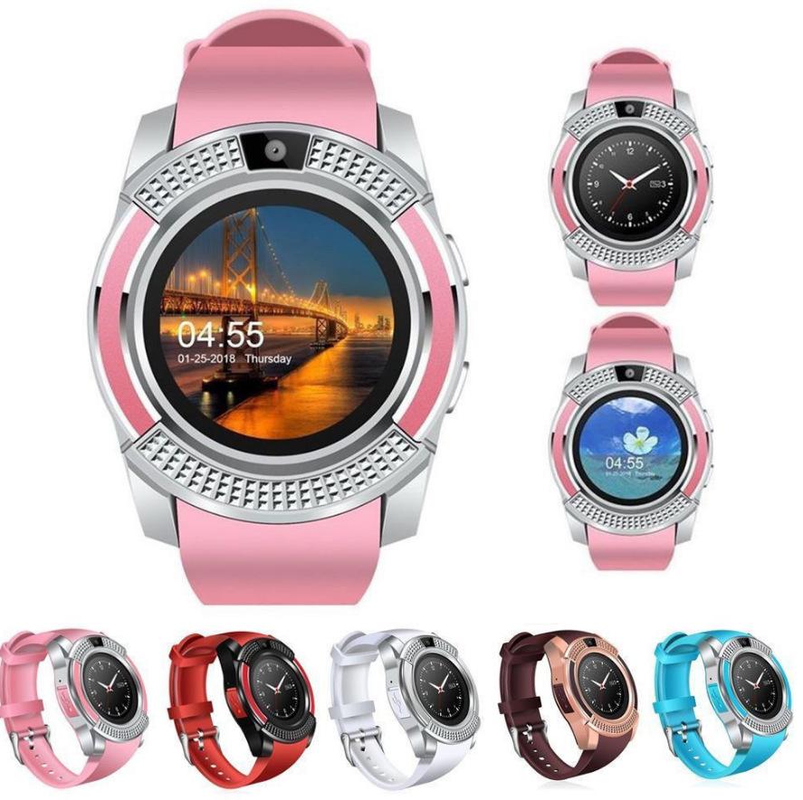 Đồng hồ thông minh V8 cảm ứng mặt tròn sang trọng, Smartwatch nghe gọi kết nối Bluetooth cho nam và nữ